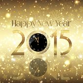 Golden Happy New Year background with a clock design