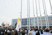 Vatican Flag Hoisted In European Parliament During Pope Visit