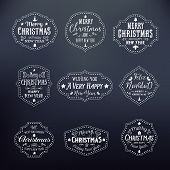 Christmas Vintage Typography Vector Badges Set on Noble Black