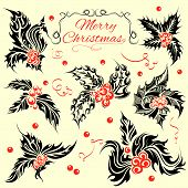 Tattoo Style Christmas Holly Leaves