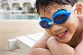 Portrait Of Happy Little Boy Ready To Swimming