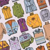 Fashion Sketchy.Different knitted clothing seamless pattern