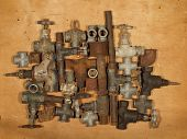 Old And Rusty Fittings And Valves.