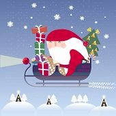 picture of sleigh ride  - lovely Santa Claus riding on sleigh in flat style - JPG