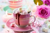 Hot chocolate and marshmallow in a cup for Valentines day