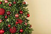 Decorated Christmas tree closeup