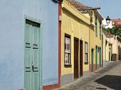 Traditonal Street With Multicolored Facades. Spain. Canary Islands