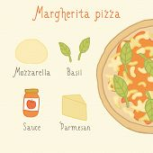 Margherita pizza ingredients.