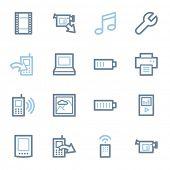 Mobile content web icons set