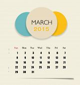 2015 calendar, monthly calendar template for March. Vector illustration.