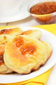 Curd Pancakes With Yellow Raspberry Confiture