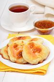 Cheese Pancakes, Confiture And Tea Cup