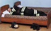Firefighter Sleeps