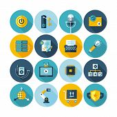 Modern flat circle icons vector collection with long shadow effect in stylish colors of web design o