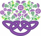Celtic Knot In The Form Of A Basket With Flowers Thistle.eps