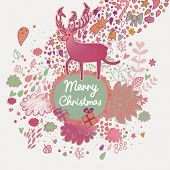 Stylish Merry Christmas card with cute deer, flowers, clouds, gifts, leafs, bow, bell, hearts and other holiday elements in vector. Cartoon holiday background in pink colors