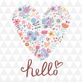 Concept romantic card in vector. Heart made of flowers on seamless pattern