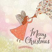Delightful Merry Christmas card in vector. Cute cartoon Fairy in the sky with bokeh effect. Stylish holiday background
