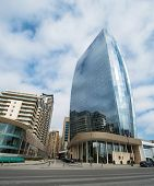 Baku - MARCH 1, 2014: Port Baku office building on March 1 in Azerbaijan, Baku. Port Baku is new development area in Baku