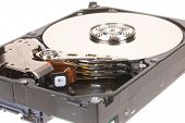 Hayward, CA, November 25, 2014: Internal platters of a Seagate Barracuda 500GB hard drive