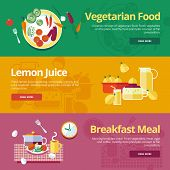 stock photo of vegetarian meal  - Set of flat design concepts for vegetarian food - JPG