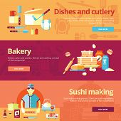 Set of flat design concepts for dishes and cuisine, bakery, sushi making.  Concepts for web banners