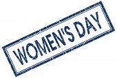 Womens Day Blue Square Stamp Isolated On White Background