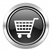 cart icon, black chrome button, shop sign