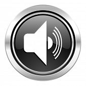 volume icon, black chrome button, music sign