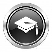 education icon, black chrome button, graduation sign