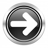 right arrow icon, black chrome button, arrow sign