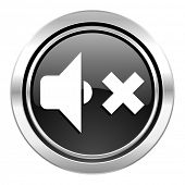 speaker volume icon, black chrome button, music sign