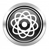atom icon, black chrome button