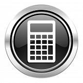calculator icon, black chrome button