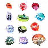 Vector Watercolor Speach Bubbles. Set of 12 pieces.