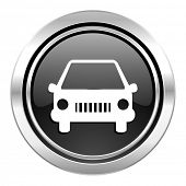 car icon, black chrome button, auto sign