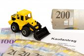 a purchase contract for new excavator. invest in new vehicles brings cost advantages. with swiss francs
