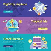 Set of flat design concepts for flight by plane, tropical island, hotel check-in.  Concepts for web