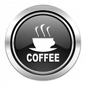 espresso icon, black chrome button, hot cup of caffee sign