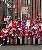 Liverpool, Uk, April 15 2014 - Scarves Hung To Commemorate The 25Th Anniversary Of The Hillborough D