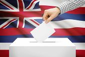 Voting Concept - Ballot Box With National Flag On Background - Hawaii