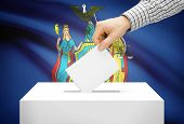 Voting Concept - Ballot Box With National Flag On Background - New York