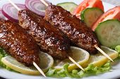 Delicious Kebabs With Lemon And Vegetables