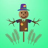 Color Vector Scarecrow In The Field Of Grain Eps10