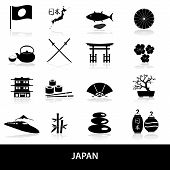 Black Simple Japan Theme Icons Set Eps10