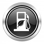 biofuel icon, black chrome button, bio fuel sign