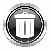 recycle icon, black chrome button, recycle bin sign