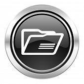 folder icon, black chrome button