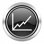 chart icon, black chrome button, stock sign