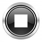 stop icon, black chrome button